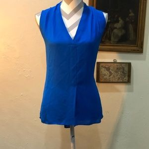Lightweight flowy blue short sleeve tank blouse